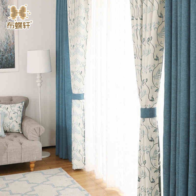 Korean Pastoral Style Beautiful Drapes Luxury Jacquard Leaves Pattern Blue  Linen-Like Curtains for Living Room Bedroom