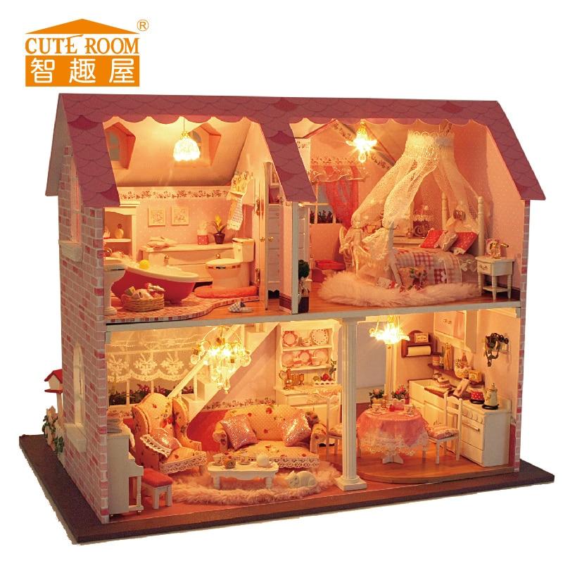 Meubles de Maison DE Poupée BRICOLAGE En Bois Miniature Maisons De Poupée Meubles En Kit BRICOLAGE Puzzle Assembler Jouets De Poupée Pour Enfants cadeau A003