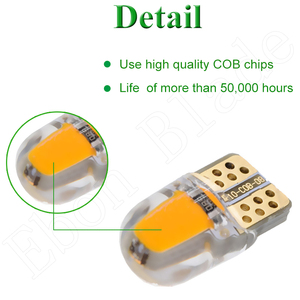 Image 4 - 2/4 Pcs Car Led Light T10 W5W 12V 194 168 2825 Lights Bulbs Silicone Cob Auto Interior Lamp Bulb Amber Yellow Orange RED White