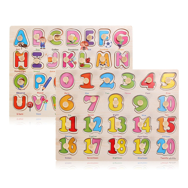 Kids Hand Grasp Wooden Toys Children Number Letter Cognition Toys Early Learning Educational Montessori Toys Wood Puzzle Toys