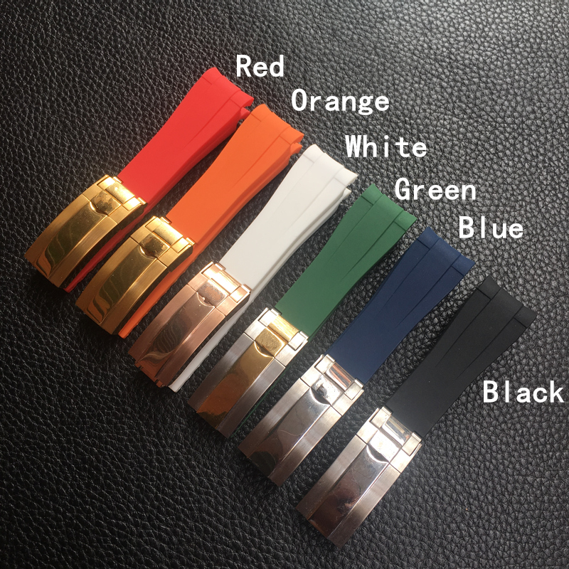 20mm Black Green Blue Orange Curved End Silicone Rubber Watchband For Role Strap RX Daytona Submariner GMT Explorer 2 Bracelet