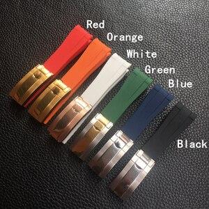 Image 1 - 20mm Black Green Blue Orange Curved End Silicone Rubber Watchband For Role strap RX Daytona Submariner GMT explorer 2 Bracelet