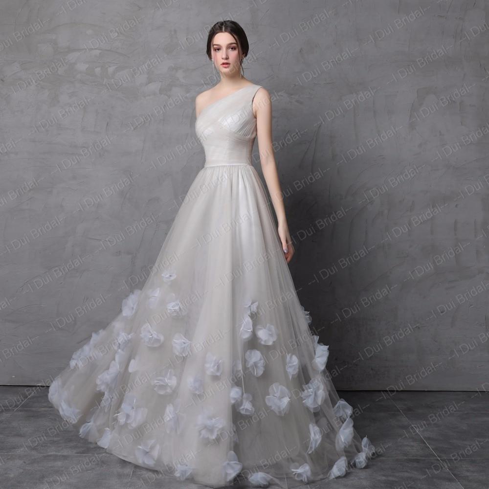 One Shoulder Handmade Flower Evening Dresses Tulle Floral Decoration Formal Dress - 6