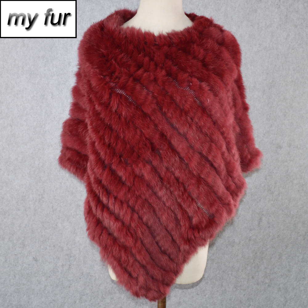 Pashmina Shawl Scarves Poncho Knitted Handmade Real-Rabbit-Fur Women Hot-Sale 100%Natural