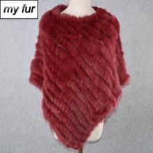 Women Hot Sale Handmade Knitted Real Rabbit Fur Poncho Scarves Real Rabbit Fur Scarf 100% Natural Real Rabbit Fur Pashmina Shawl