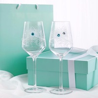 Modern minimalist creative art red wine glass crystal pair cup gift box designer small boutique B