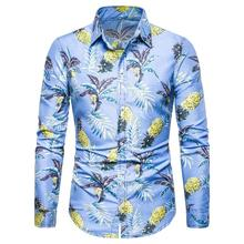 New model Shirts Long sleeve Floral Social Men Shirts Hawaiian Style Fashion Casual Blouse Men Slim fit Summer New цена