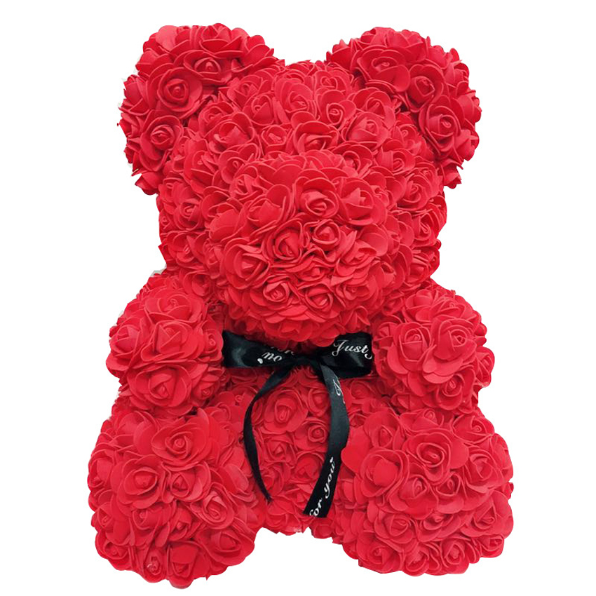 Artificial Flowers Rose Bear Multicolor Plastic Foam Rose Flower Teddy Bear Valentines Day Gift Birthday Party Spring Decoration in Artificial Dried Flowers from Home Garden