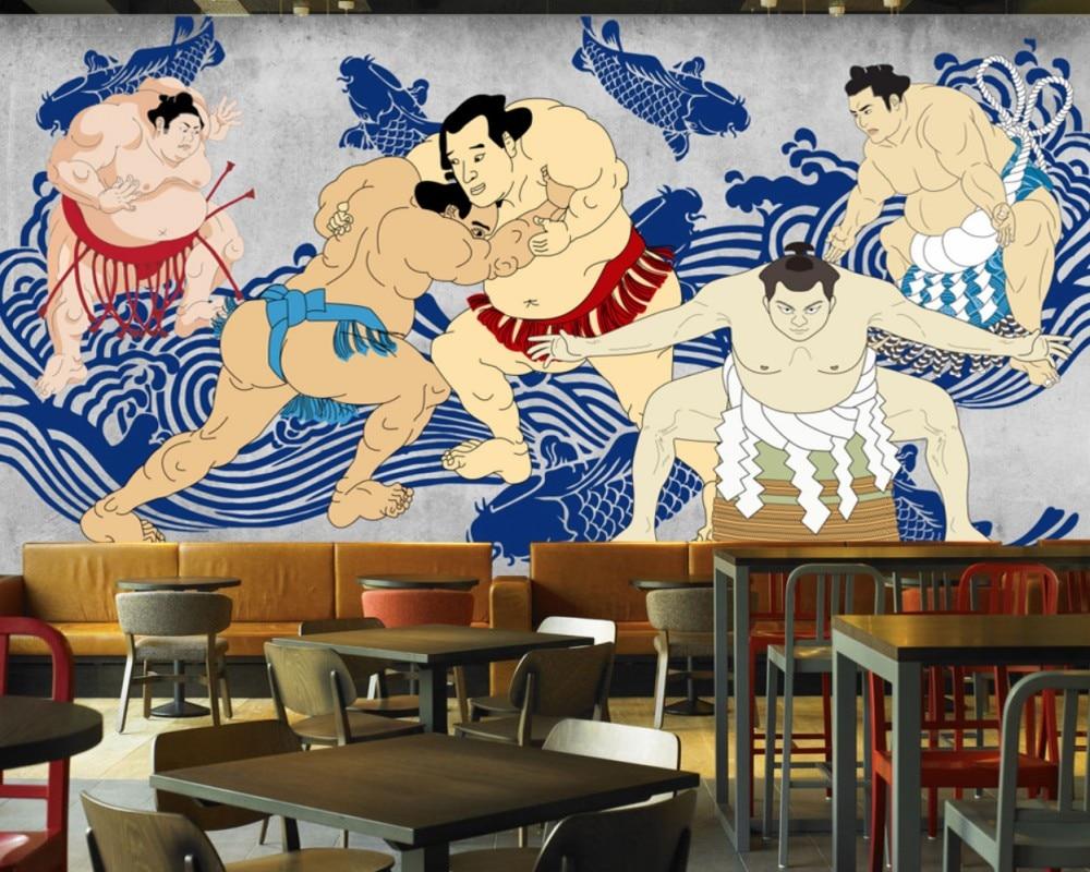 Free Shipping Retro HandPainted Sumo Warrior Cement Wall Japanese Restaurant Mural Gym Sports Field Custom 3D Japanese Wallpaper