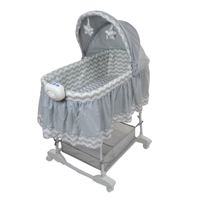 Newborn Baby Cradle Princess Baby Bassinet Bed With 4 Universal Wheels Baby Rocking Crib Can