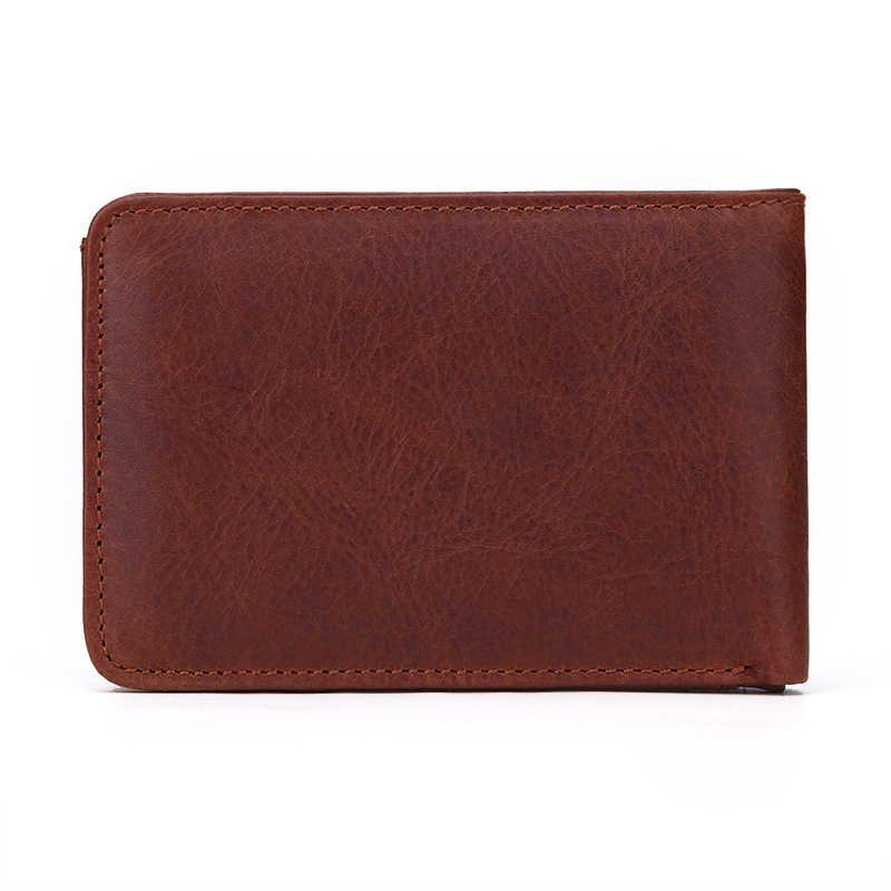 GENODERN Повседневный маленький кошелек для мужчин из натуральной кожи мужской бумажник короткий мини-кошелек с держателем для карт карманные кошельки