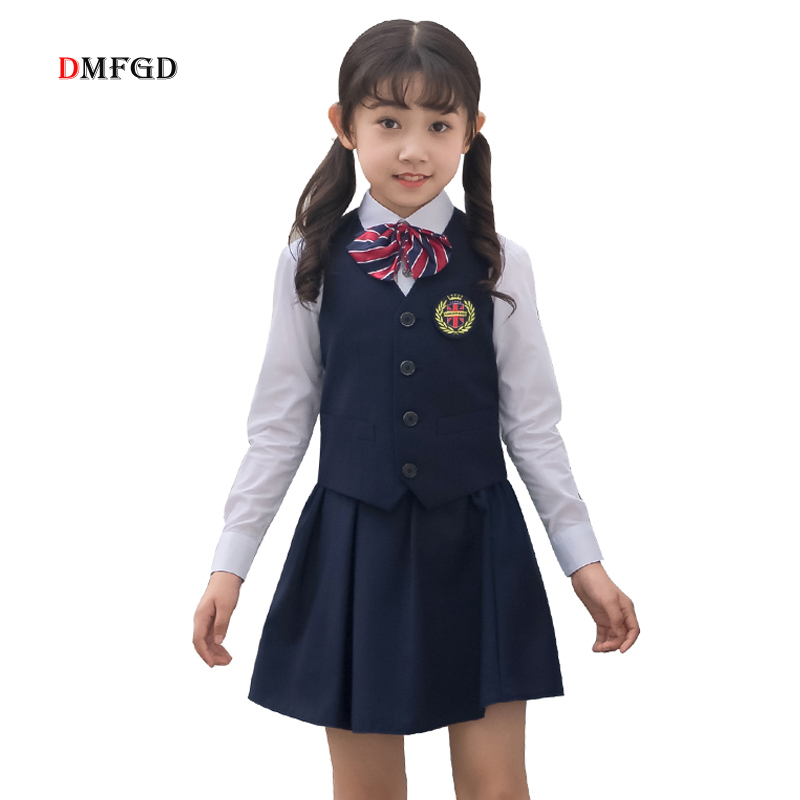 High Quality girls formal clothes sets Black student party dress costume skirts ceremony formal clothing suits for girls 4-16Y 5 16y teenage girls white long high waist flower princess wedding dress kid prom costume formal gown clothes for girl ceremony