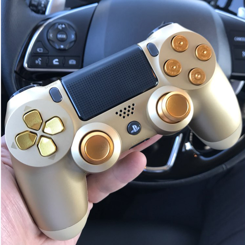 Gold Custom Metal Thumbsticks Analogue Controller Bullet Buttons Chrome D-pad For Sony  PS4 Controllers