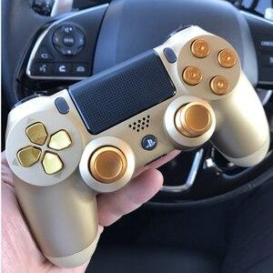 Image 1 - ทองที่กำหนดเองโลหะ Thumbsticks แบบอะนาล็อก Controller Bullet ปุ่ม Chrome D Pad สำหรับ Sony PS4 ตัวควบคุม