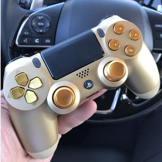ทองที่กำหนดเองโลหะ Thumbsticks แบบอะนาล็อก Controller Bullet ปุ่ม Chrome D Pad สำหรับ Sony PS4 ตัวควบคุม