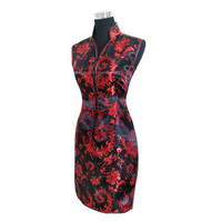 Black Red Chinese Traditional Women Summer Dress Silk Satin Cheongsam Sexy V Neck Qipao Floral Size
