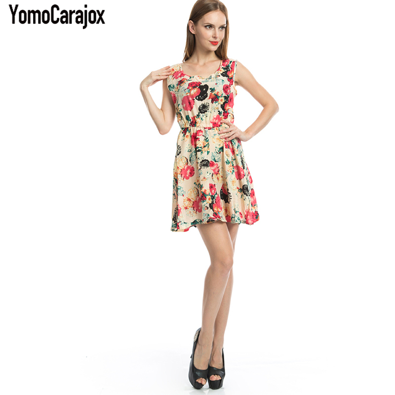 Women Summer Bodycon Dress Vintage Printed Sexy Sleeveless Party Vestido De Festa Female Clothing A Line Dresses