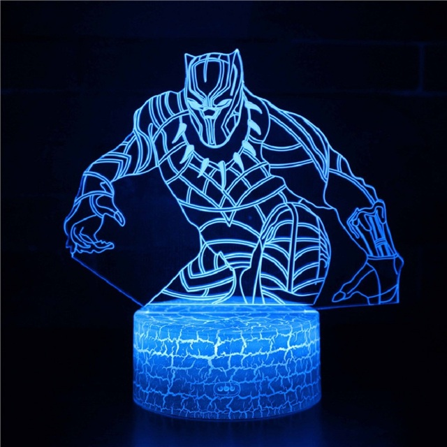 Black Panther 3d Lamp Modeling Led Visual Stereo Led Night Light Christmas decorations gift for baby room lights wholesale