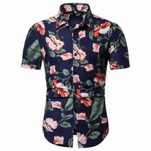 Casual Blouse Men Floral Shirts Mens clothing Hip hop Slim fit Hawaiian Flower Summer
