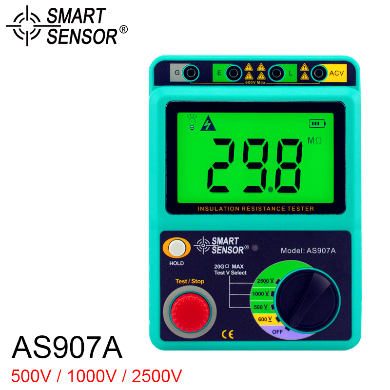 SMART SENSOR Insulation Resistance Tester Meter AS907A 2500V Ground Meter Megger Megohmmeter Voltmeter as907a digital insulation tester megger with voltage range 500v 1000v 2500v