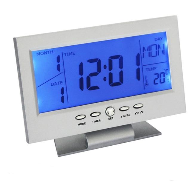 Voice Control Backlight LCD Alarm Clock Weather Monitor Calendar With Timer Sound Sensor Temperature Decor Desktop Table Clock