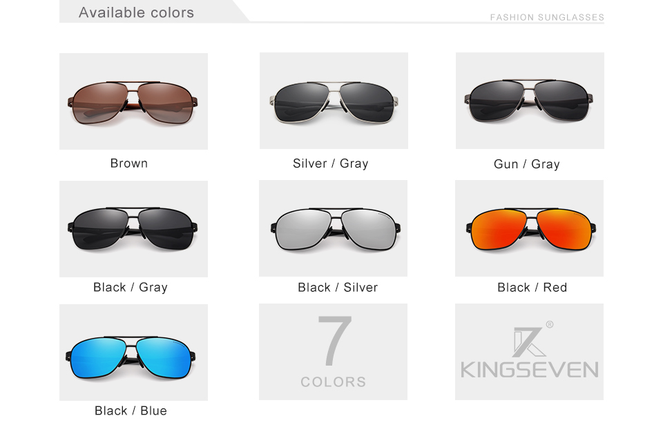 KINGSEVEN Brand Design Polarized Aluminum Sunglasses Male Driving Blue Mirror Sun glasses for Men Goggles Eyewear Gafas De Sol