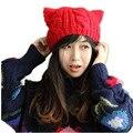 Muito Bonito Orelhas de Raposa Orelha de Gato Mulheres Novo Inverno chapéu da forma Chapéu Feito Malha Chapéu 100% Artesanais mulheres novidade sólida