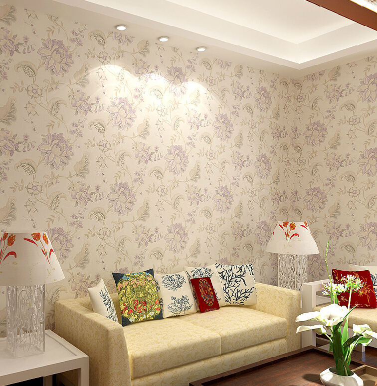 Chinese Vintage Floral Wallpaper Romantic Pink Flower Mural Living Room Bedroom Wall Roll 3D