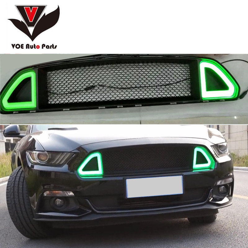 2015 2016 Mustang RTR Style ABS LED Front Bumper Racing Grill Grille for Ford Mustang