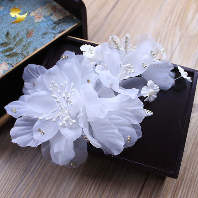 Xinyun new white flower hair clips hairgrip pearl headband wedding xinyun new white flower hair clips hairgrip pearl headband wedding decorations bridal headdress headpiece bride hair mightylinksfo