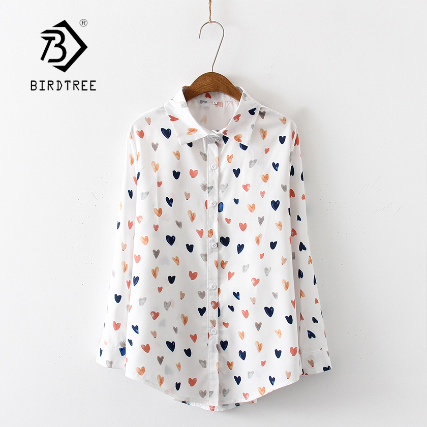 New Arrival Women Multicolor Love Heart Painting Print Long Sleeve White   Shirt   Turn-Down Collar   Blouse   Chic Top T97503F
