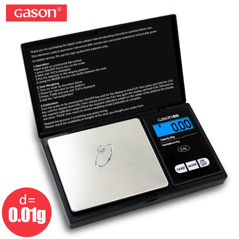 GASON Z2 200g/0.01g Scala Dei Monili Per L'oro Peso Hight Precisione Mini Tasca Elettronica Bilancia Digitale LCD Display Grammi