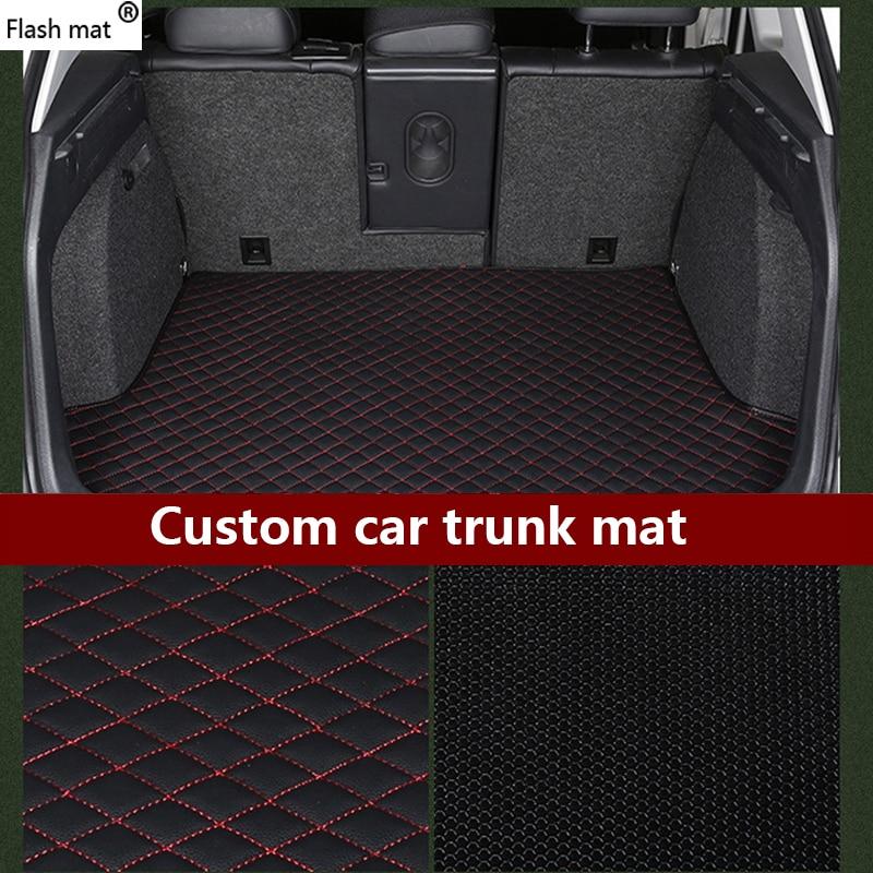 leather Car Trunk Mats for Volkswagen All Models polo golf 7 tiguan touran jetta CC beetle vw custom cargo liner