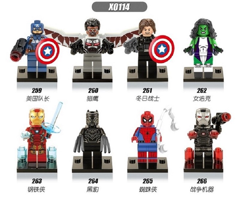 Single Sale Super Heroes Captain America Winter Soldier Iron Man She Hulk Falcon Bricks Building Blocks Children Gift Toys X0114 dr tong super heroes captain america iron man armor mark 42 interlocking bricks action building blocks toys children gifts mk42