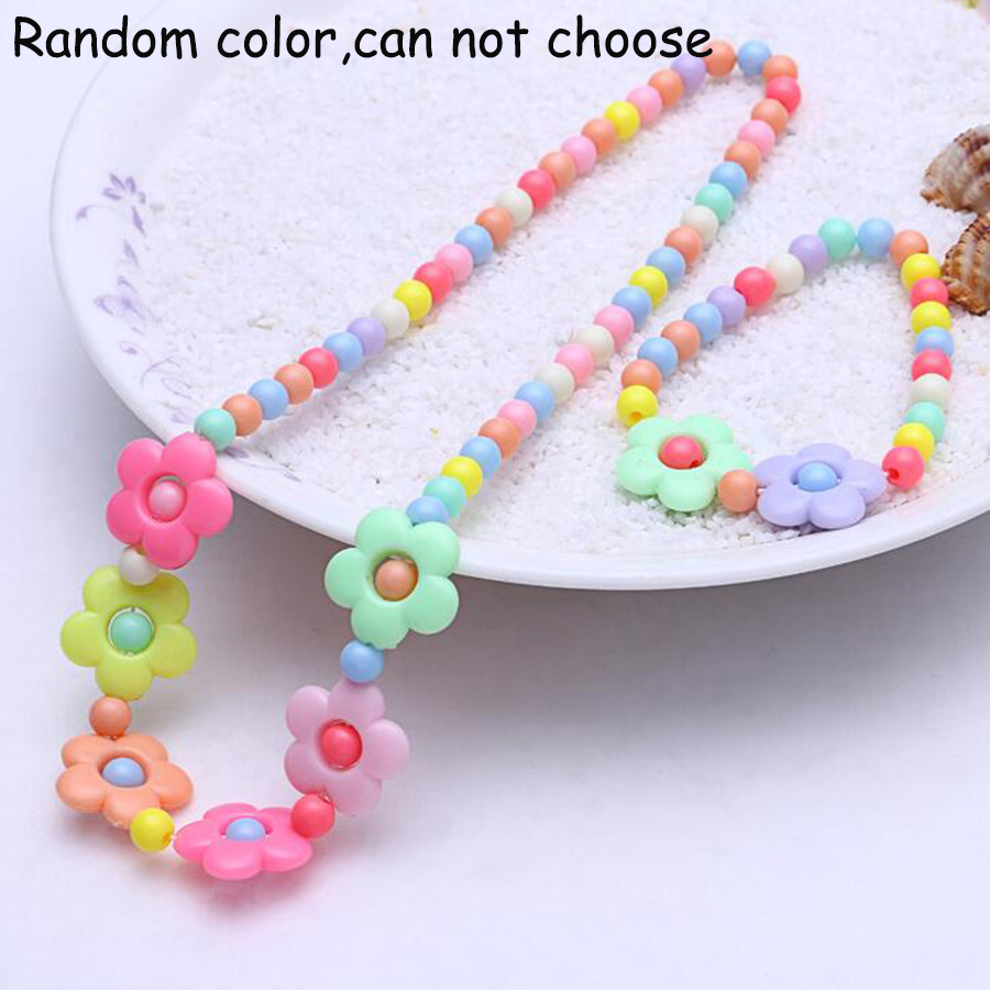 Candy Color Plastic Beads Strand Necklace Jewelry Sets Children Small Flowers Kids Strand Bracelets Baby Jewelry Gifts