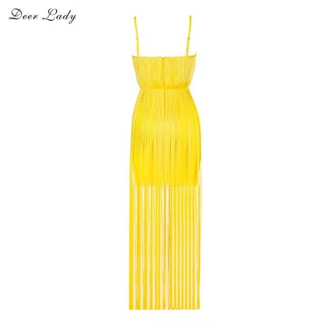 Deer Lady 2019 Summer Dresses Sexy Bodycon Dress Tassel Party Dresses Yellow Bustier Long Spaghetti Strap Vestido Wholesale HL