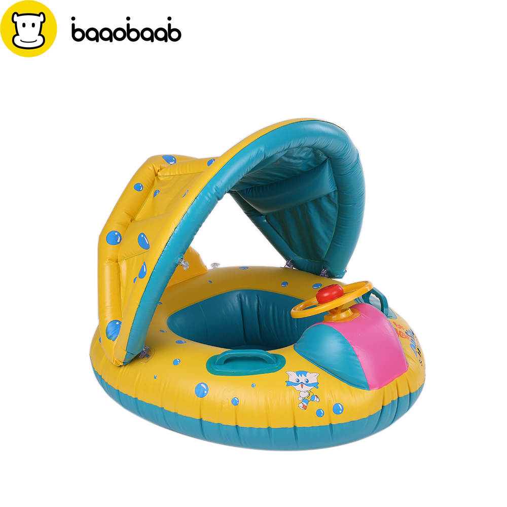 BAAOBAAB 2018 New Safe Inflatable Baby Swimming Ring Pool PVC Baby Infant Swimming Float Adjustable Sunshade Seat Swimming Pool