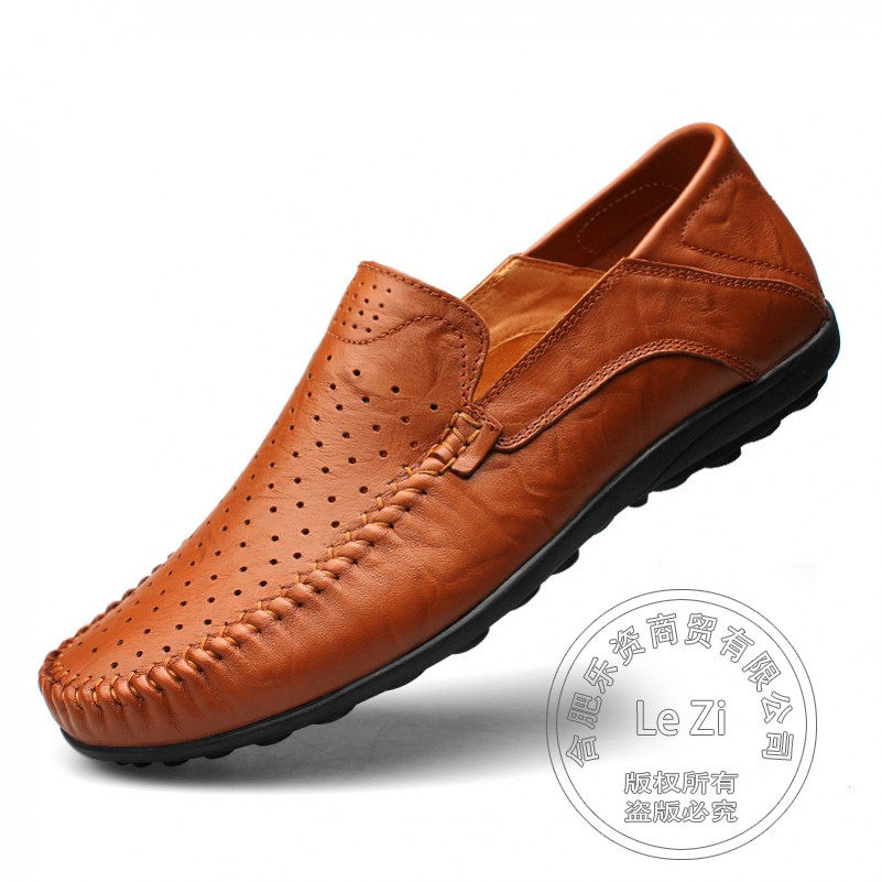 ФОТО Full Grain Leather Mens Shoes Casual Size 12 Plain Indoor Slipon Shoes Coffee Solid Boat Shoes Punched Soft Leather Mark Thread