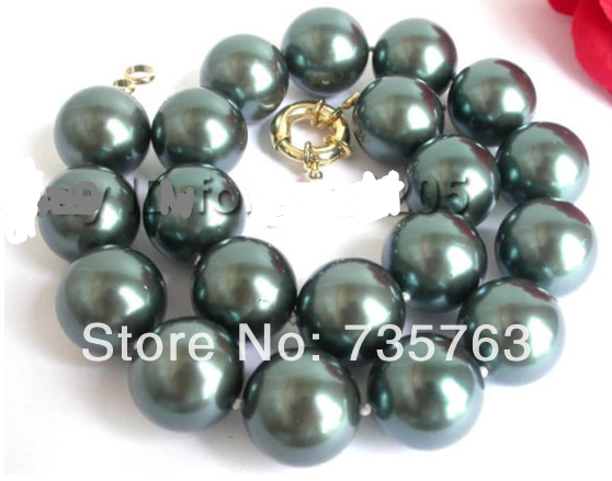 HUGE!Natural 20mm Tahiti Black Round Shell Pearl Necklace
