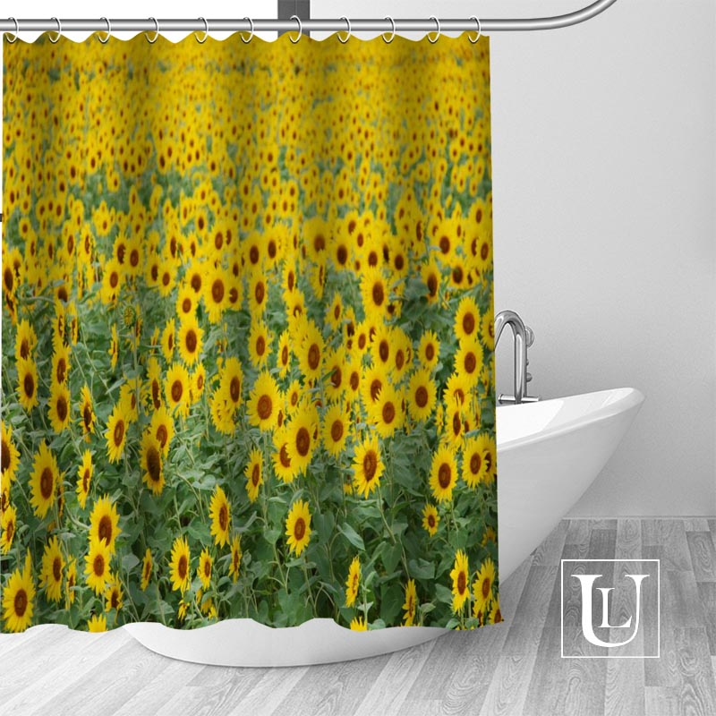 Hot Custom Sunflowers Shower Curtains Polyester Bathroom With Hook Bath Curtain Decor In From Home Garden On