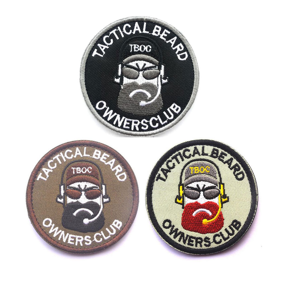 Geborduurde militaire patches Tactical Beard eigenaars club Exquisitely 3D Armband Morale patch Badge-applicaties