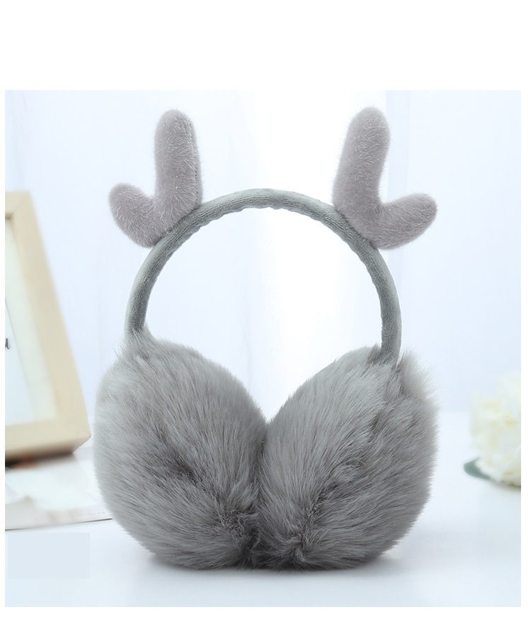 2018 New Casual Fashion Cute Exquisite Warm Warm Plush Antler Shape Women's Earmuffs Style Pink Red Black White