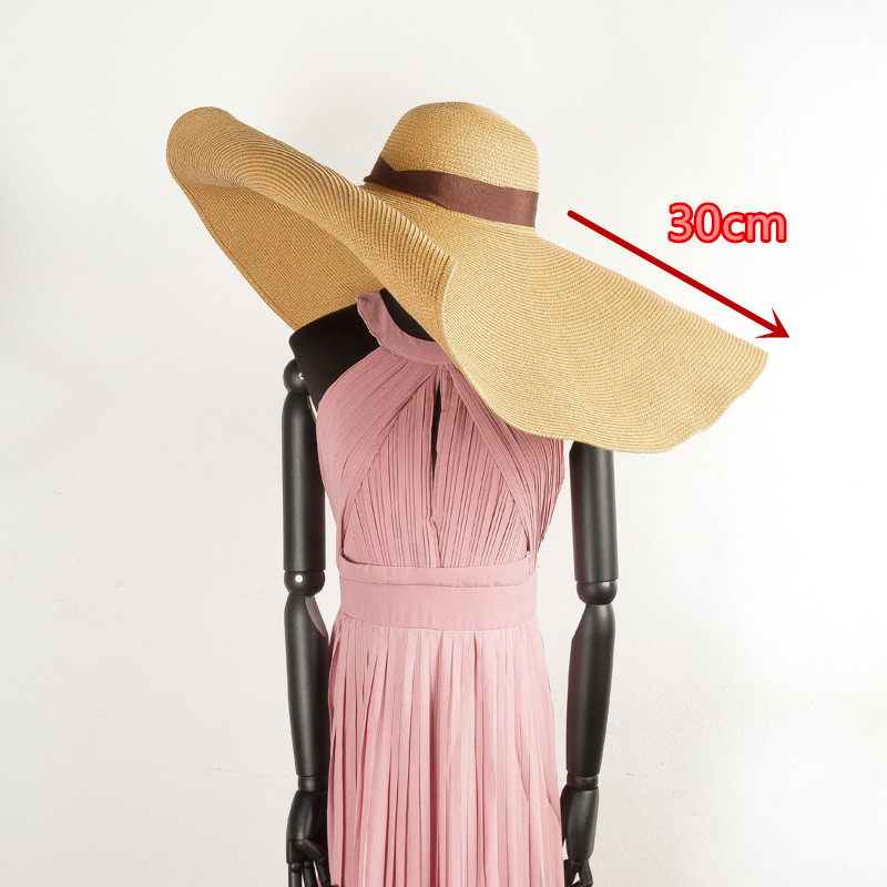 01904-hh7338 30cm Brim Handmade Paper Straw Model Show Design Sun Cap Women Leisure Holiday Beach Hat Driving A Roaring Trade