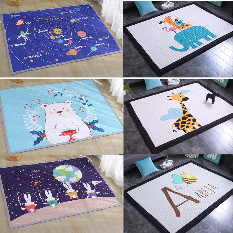 Large Size Soft Baby Blanket Cotton Padded Floor Carpet Bedroom Home Decoration Rugs Cartoon Animals Game