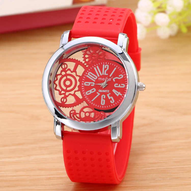 Reloj de pulsera 2019 esqueleto para hombre, estilo Simple, cinturón de silicona para hombre, relojes de cuarzo Unisex, relojes huecos, reloj masculino