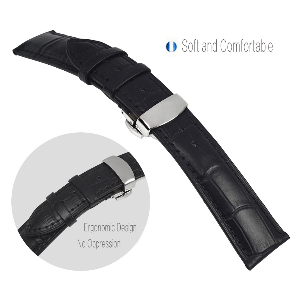 Watchbands 18mm 19mm 20mm 21mm 22mm Black Leather Watch Strap Silver Butterfly Buckle Alligator Grain For Men Women For Tissot in Watchbands from Watches