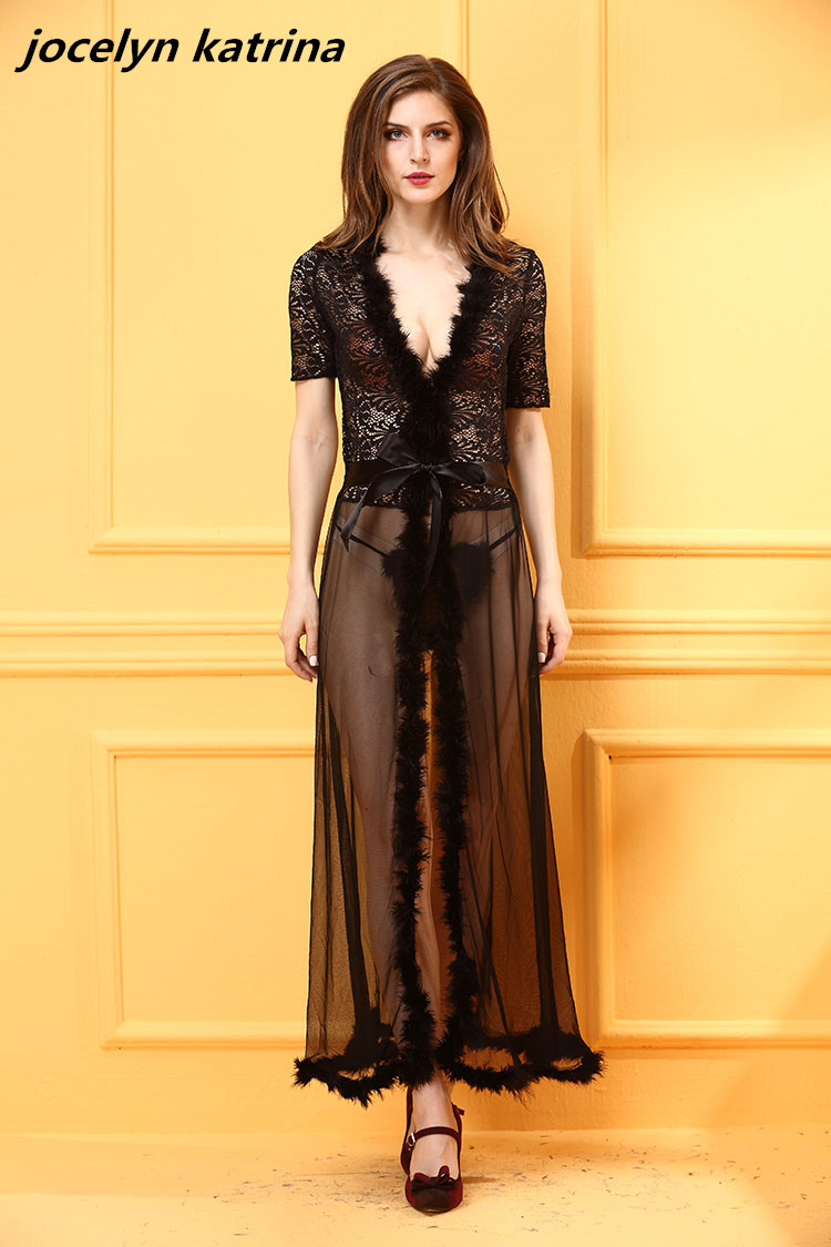 Jocelyn katrina marca Romántico sexy capa transparente yardas grandes pijamas se