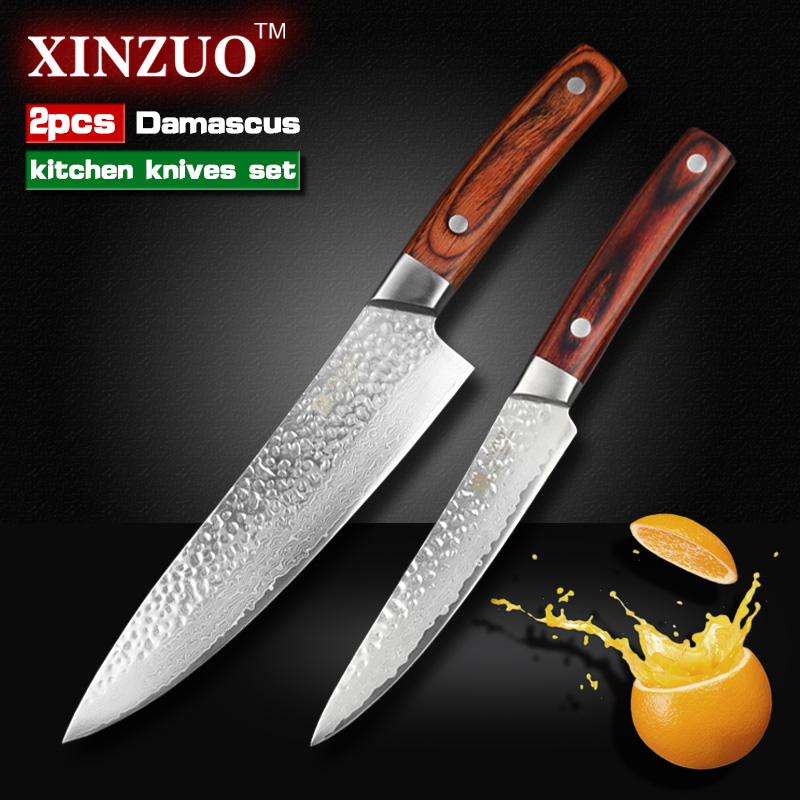 2 pcs kitchen font b knives b font set 67 layers Japanese VG10 Damascus kitchen font