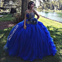 Cinderella Ball Gown Royal Blue Quinceanera Dresses 2019 Appliques Beads Off Shoulder Sweet 16 Prom Dress Pageant For Women