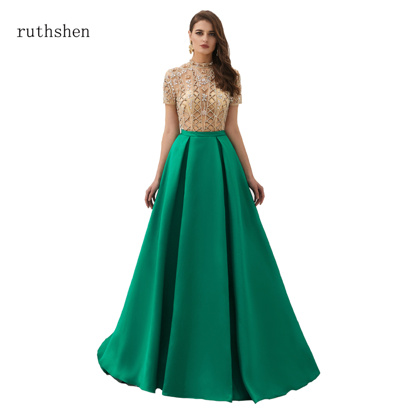 ruthshen Satin   Dress     Prom   long Women Elegant   Prom     dresses   2019 Royal Blue crystal Party Celebrity A-Line Strapless Ball Gowns